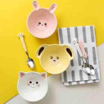 Bát thỏ hồng cún vàng mèo trắng