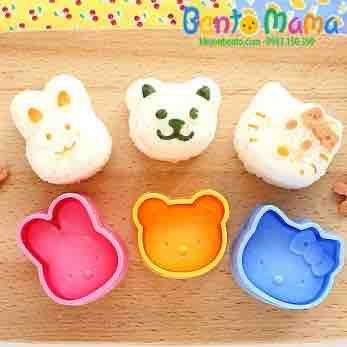 Set 3 Khuôn Ép Cơm Bento Thỏ  Gấu kitty