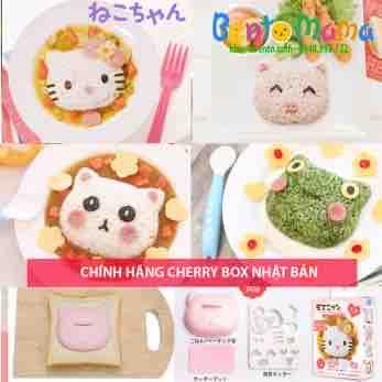 Bộ khuôn ép cơm kitty đa năng tạo hình kitty, gấu, heo, ếch Nhật bản Cherry box