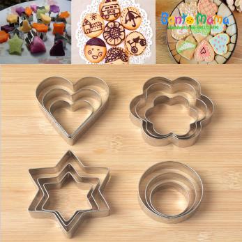 Bộ cutter 12 hình hoa tim sao tròn thép không gỉ cắt bột, rau, củ, quả