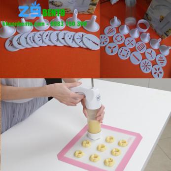 Bộ cookie press 12 mặt và 6 đầu bơm kem