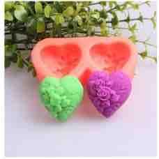 Khuôn thạch socola silicon trái tim hoa hồng đôi