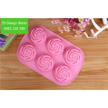 Khuôn thạch socola silicon hoa hồng to 6 bông